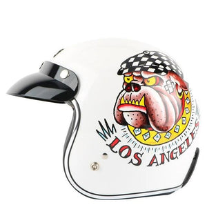 motorcycle helmet with a Pit-Bull face