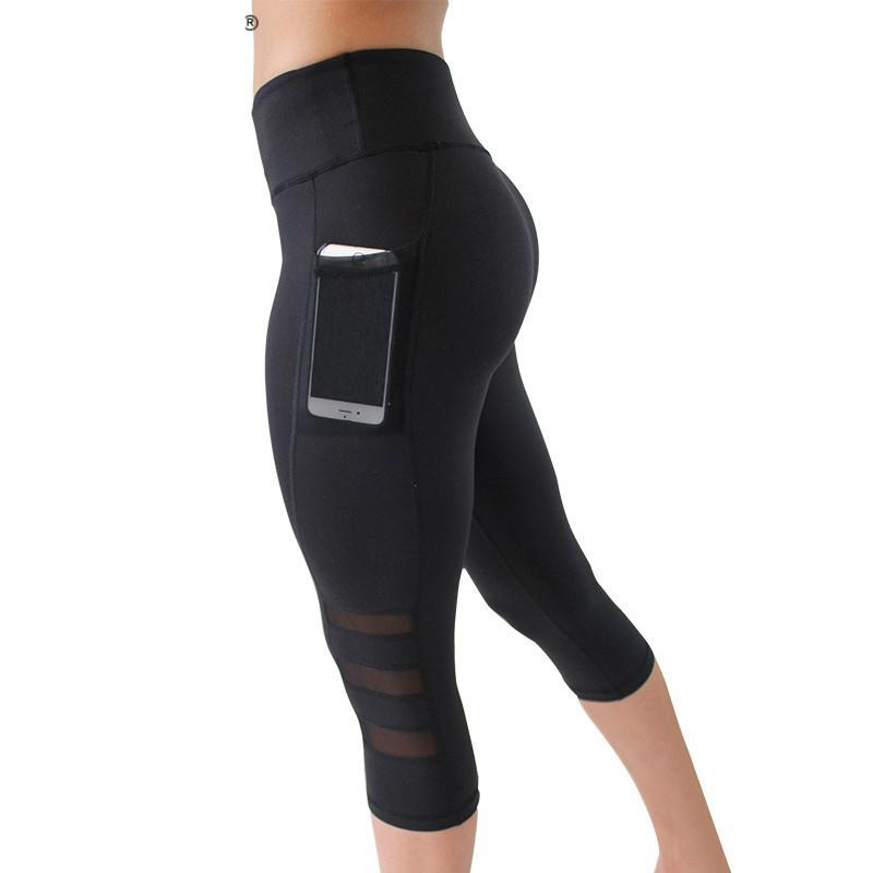 Summer Mesh Patchwork Leggings For Workout - Women - Patchwork Pocekt Short