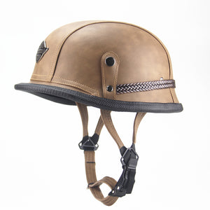Open Face Half Leather Helmet - Vintage moto helmet style-Colinas Store