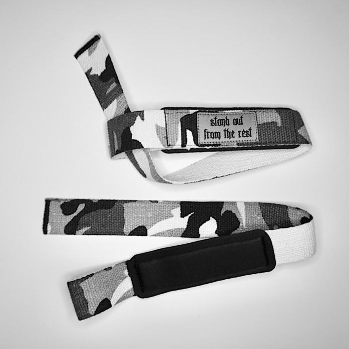 WEIGHT LIFTING STRAPS - GREY CAMO