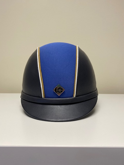Ex Display FC Customised Charles Owen Ayr8 Plus, Navy Leather Look Riding Hat 57cm