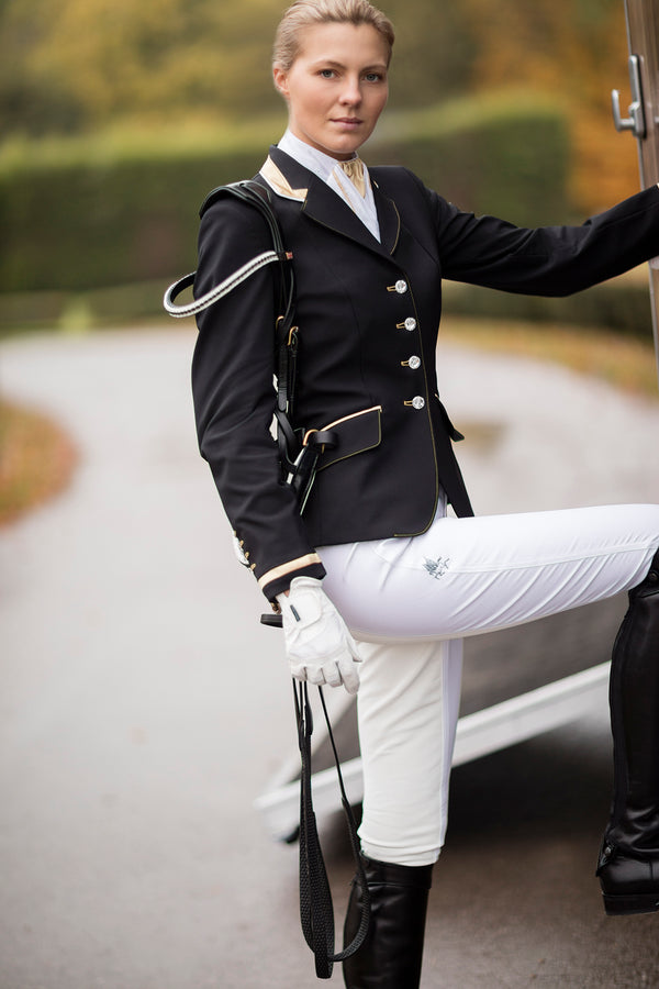 Charlotte (black) short show Jacket/Pale Gold Trim