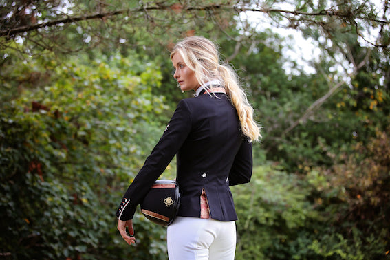 Flying Changes Ladies Charlotte Short Jacket, Black, Red Gold Paisley