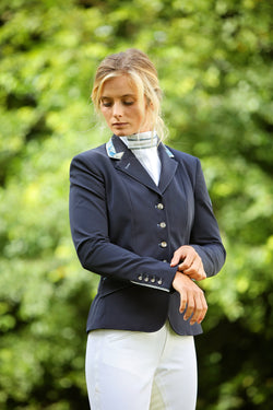 Flying Changes Ladies Charlotte Short Jacket, Navy, Blue Gold Paisley