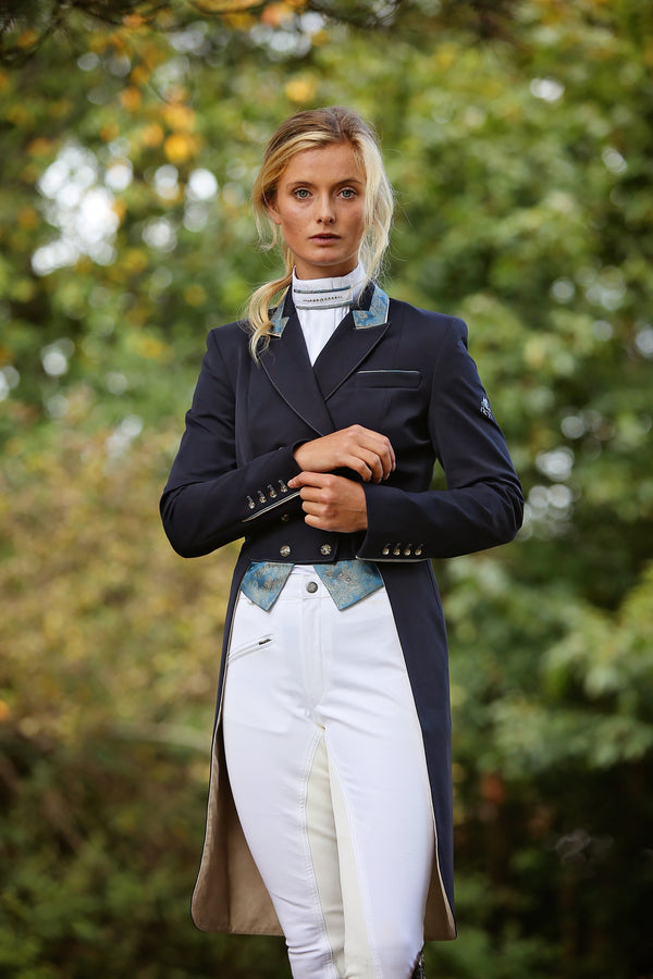 SALE - Flying Changes Dressage Tailcoat, Isabell, Navy, Blue gold paisley trim SIZE 20SPL