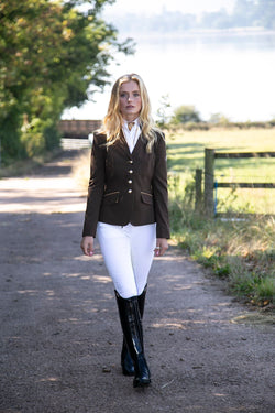 Charlotte (brown) short show Jacket/New Gold Trim - Size 6