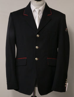 "SALE - Cameron short Jacket - Size 42"" SPL - Black Technical/Red Pipe on Collar"
