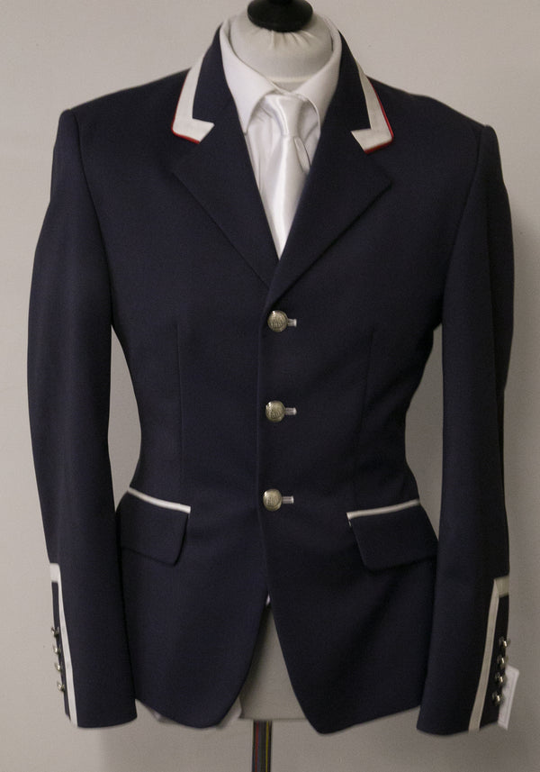 "SALE - Cameron short Jacket - Size 38"" SPL - Navy Technical/Ivory Fent red Pipe"