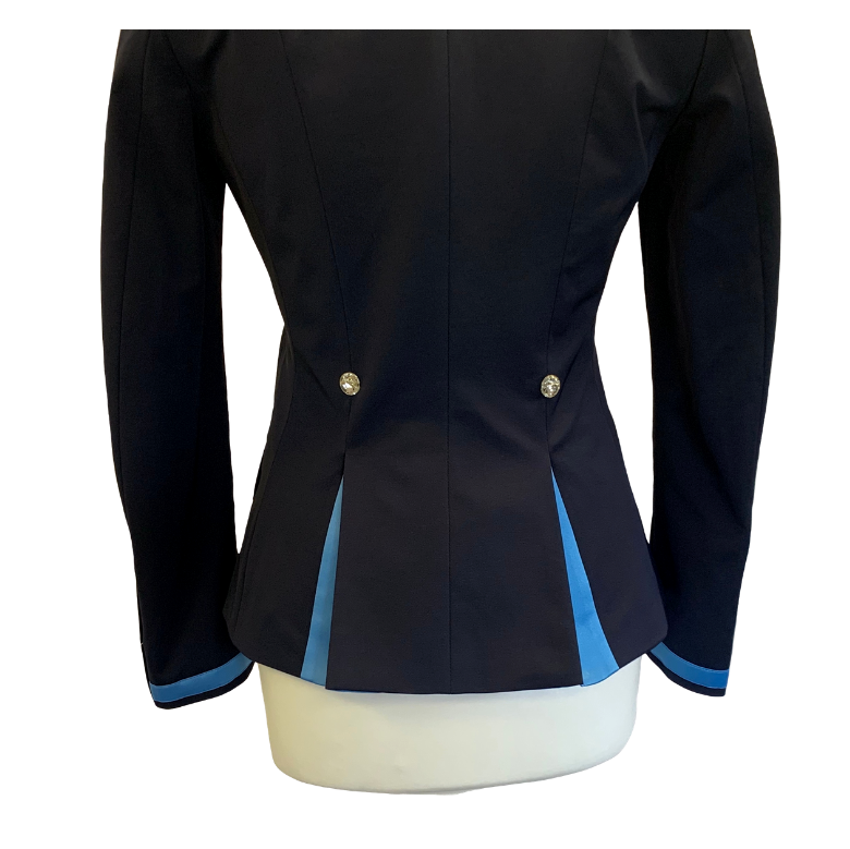 Flying Changes Ladies Charlotte Short Jacket, Navy, Wedgewood