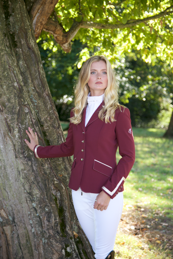 Flying Changes Ladies Charlotte Short Jacket, Burgundy, Champagne