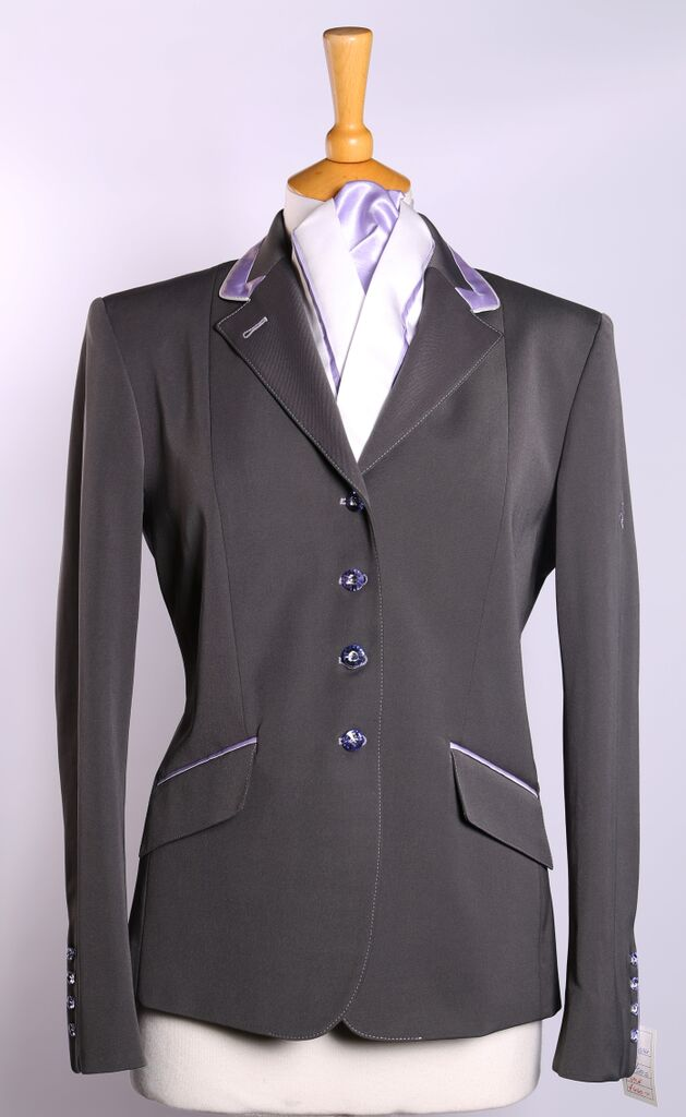 Charlotte (grey) short show Jacket/Lilac Trim - Size 14