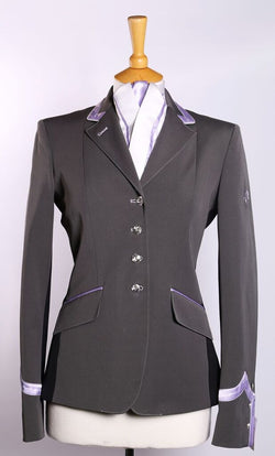 Charlotte (grey) short show Jacket/Lilac Trim with black Side Panel - Size 8L