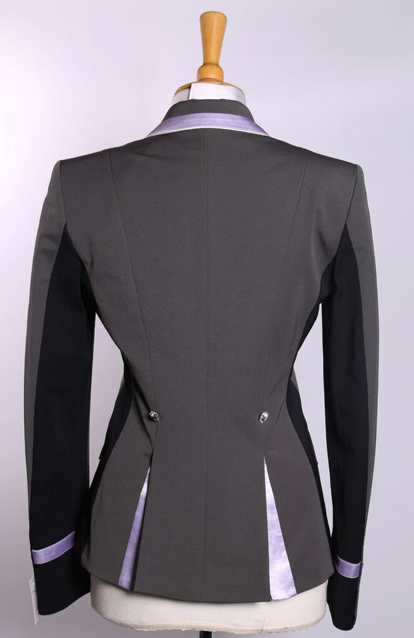 Flying Changes Ladies Charlotte Short Jacket, Grey, Lilac with Black Side Panel