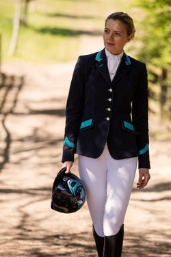Flying Changes Ladies Charlotte Short Jacket, Navy, Turquoise