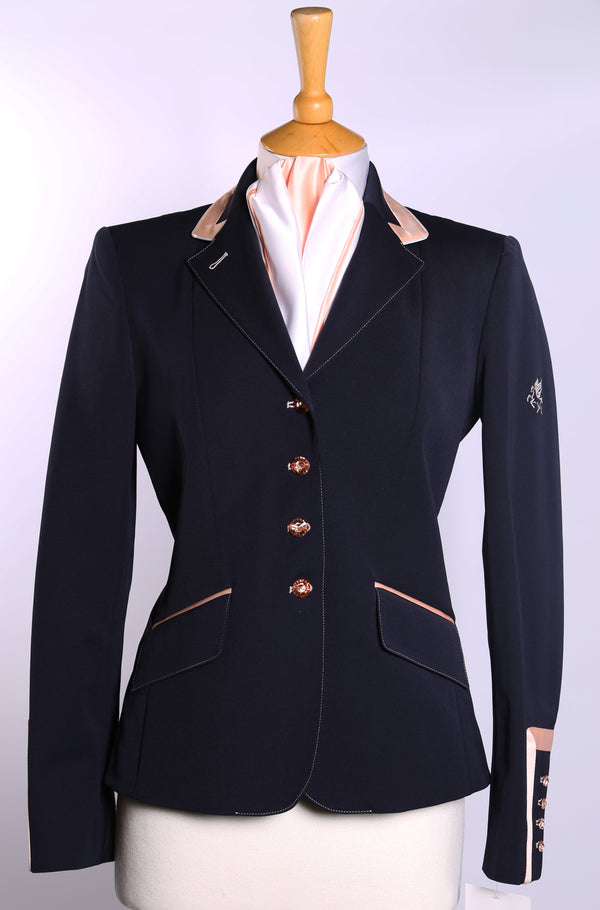 Flying Changes Ladies Charlotte Short Jacket, Navy, Peach