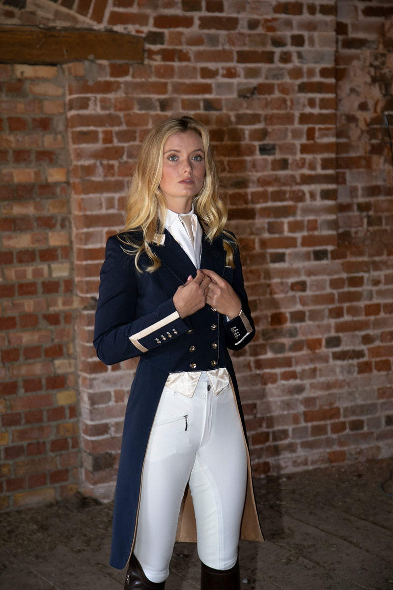 Flying Changes Ladies Isabell Dressage Tailcoat, Navy, Champagne