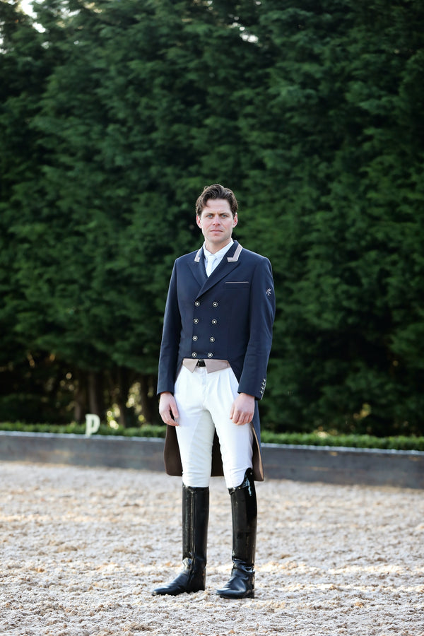 Flying Changes Mens Carl Dressage Tailcoat, Navy, Taupe