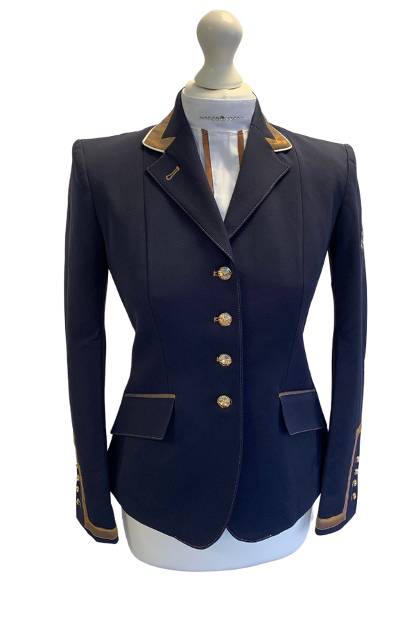 Flying Changes Charlotte, meine Damen Turnierjacke, Marineblau, Kupfer, UK Größe 8 SALE