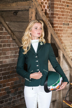 Charlotte (Dark Green) short show Jacket/Mint Trim - Size 6