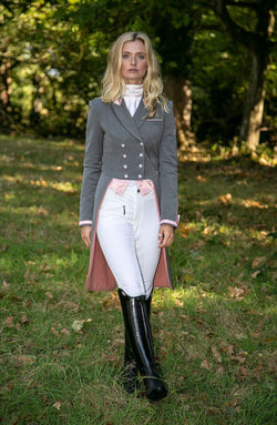 Flying Changes Ladies Isabell Dressage Tailcoat, Grey, Light Rose Pink