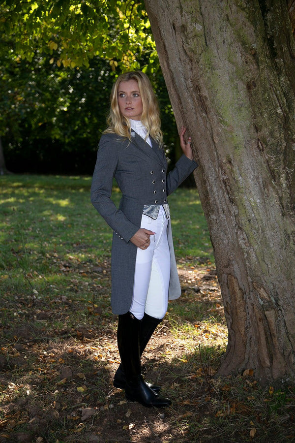 SALE - ISABELL TAILCOAT - SIZE 12 SPL - Grey  with Silver Paisley trim