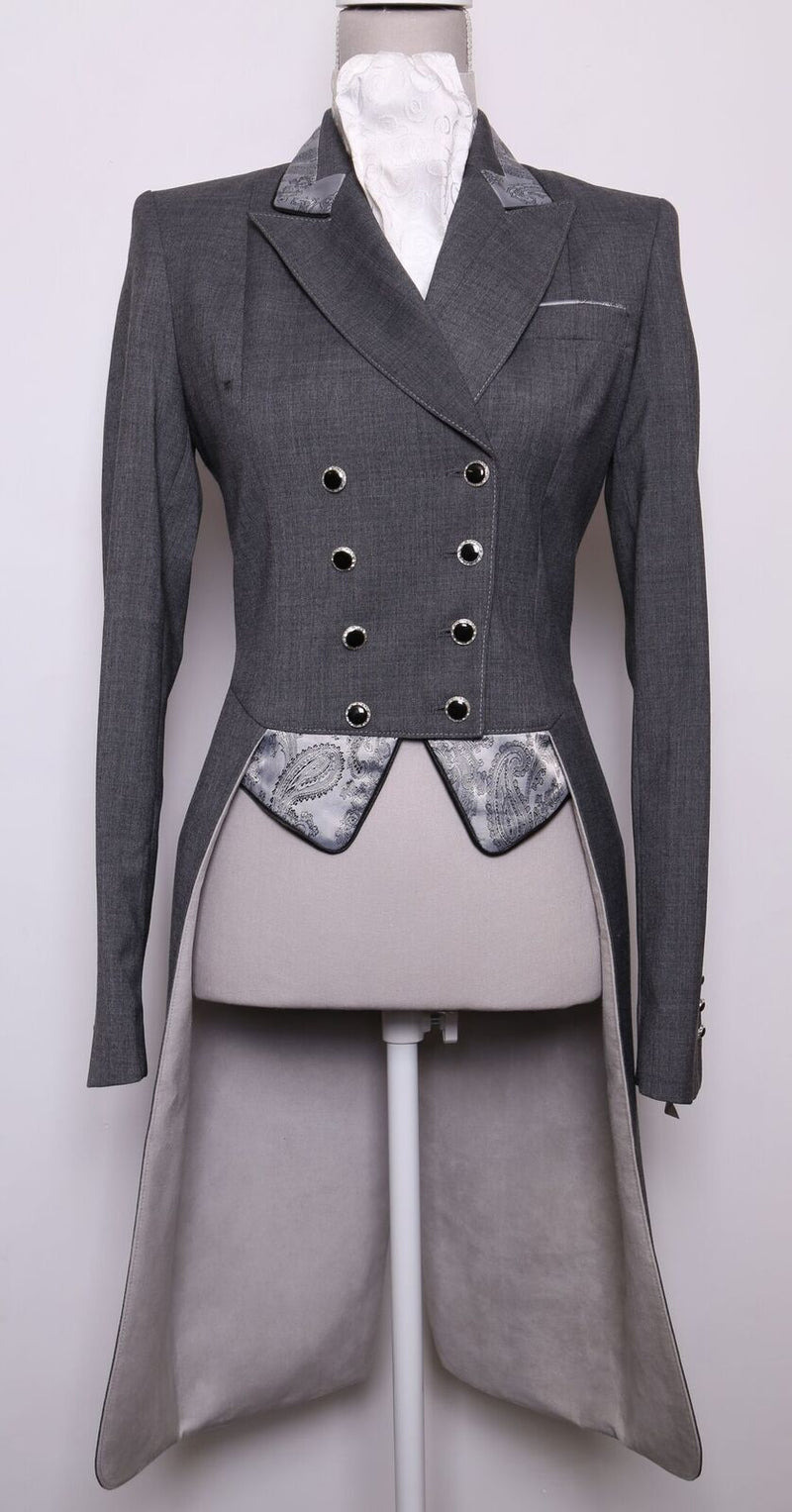 Isabell (dark grey) Tailcoat/Silver Grey Paisley - Size 8