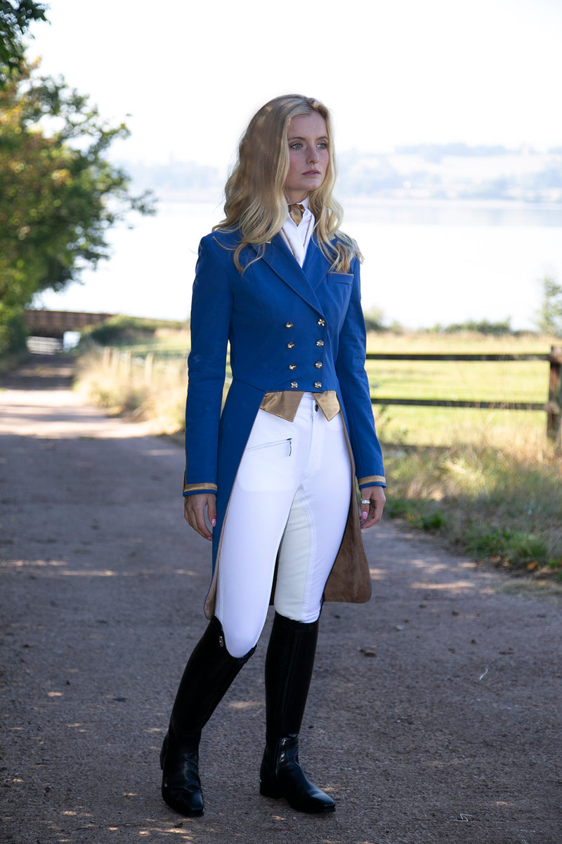 Flying Changes Ladies Isabell Dressage Tailcoat, Royal Blue, New Gold