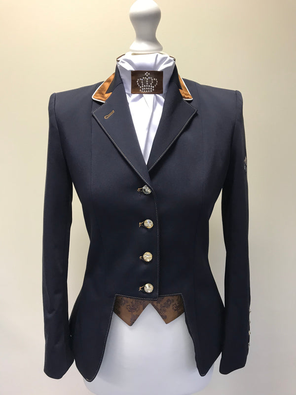 SALE - FLYING CHANGES LADIES SHORT JACKET, GINA, NAVY, COPPER PAISLEY/COPPER, UK SIZE 8