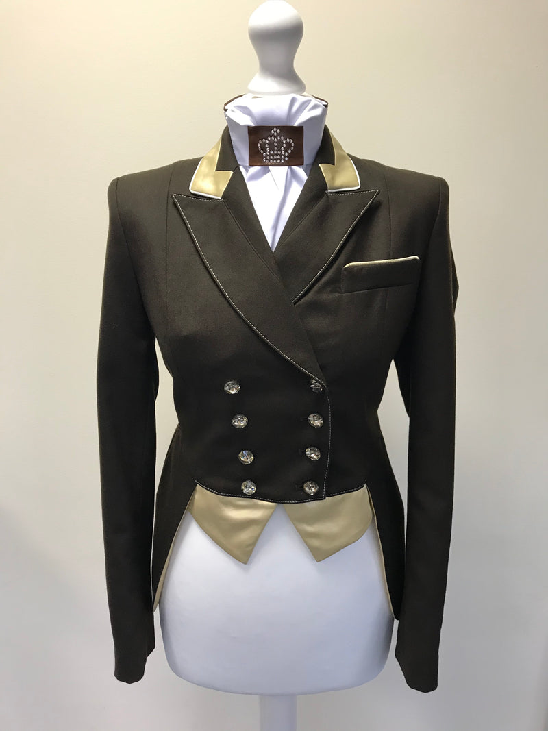 BLACK FRIDAY SALE - FLYING CHANGES LADIES SHORT TAILCOAT, CATHERINE, BROWN, NEO GOLD, UK SIZE 10 SPL