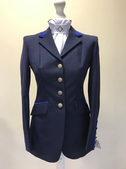 SALE - Flying Changes Charlotte, Ladies Short Jacket, Navy, Royal blue suede trim, UK size 8SPL