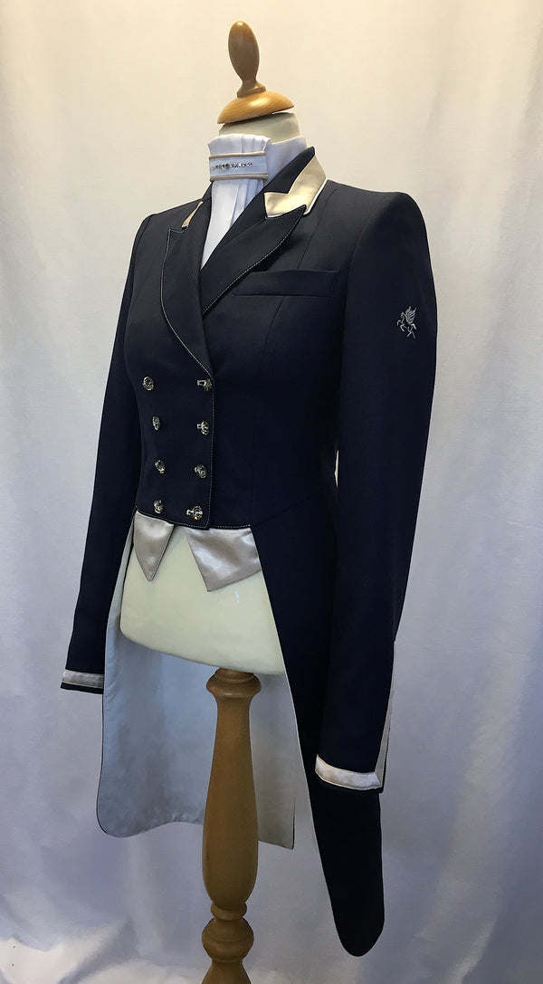 SALE - ISABELL TAILCOAT - SIZE 6 SPL - navy with Champagne trim