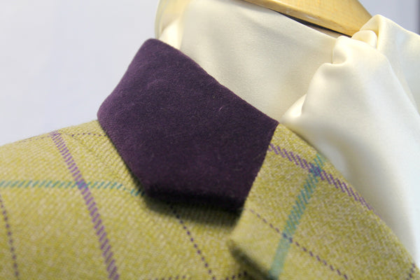 SALE - Flying Changes Ladies Short JACKET, TWEED WITH PURPLE COLLAR, uk SIZE 8