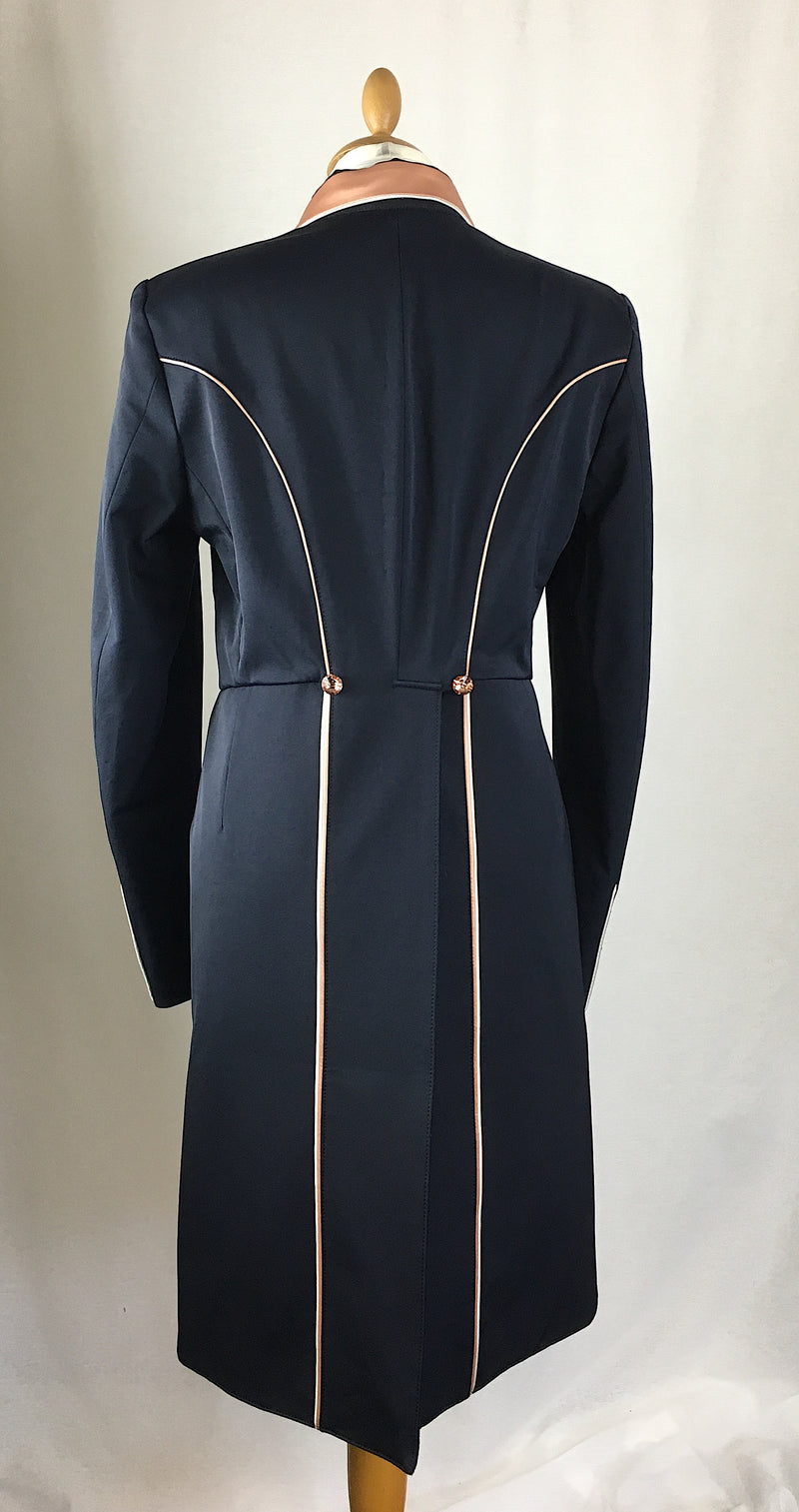 SALE - ISABELL TAILCOAT - SIZE 14 SPL- Navy with Rose Gold trim