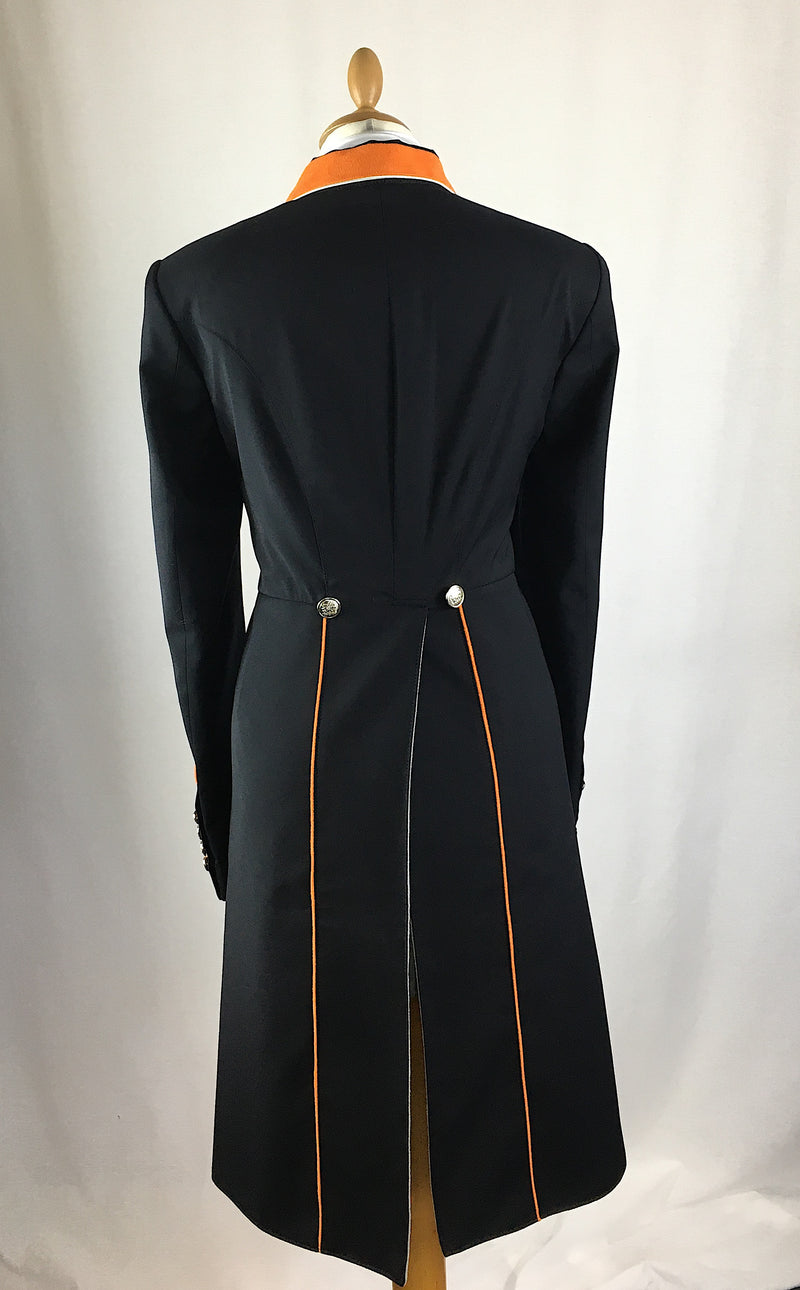 SALE - ISABELL TAILCOAT - SIZE 16 - black with orange trim