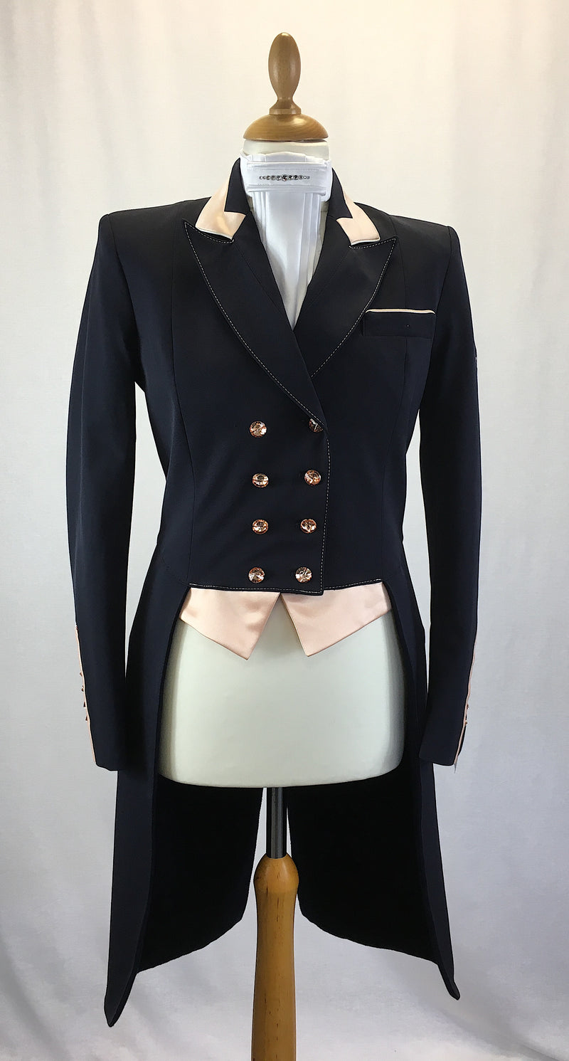SALE - Flying Changes Ladies Isabell Dressage Tailcoat, Navy, Peach, UK Size 10 SPL