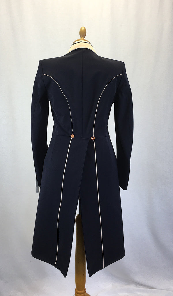 SALE - ISABELL TAILCOAT - SIZE 10  - navy with rose gold trim