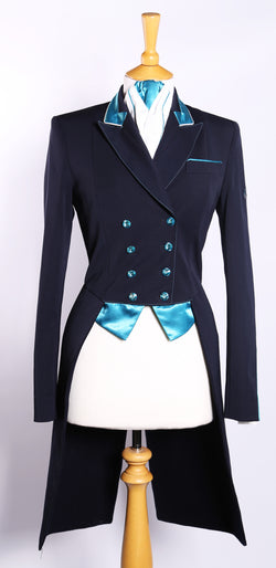 Flying Changes Ladies Isabell Dressage Tailcoat, Navy, Turquoise