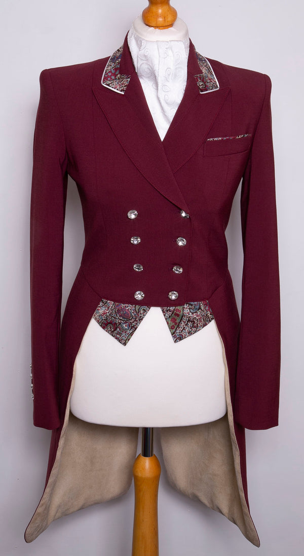 Flying Changes Ladies Isabell Dressage Tailcoat, Burgundy, Burgundy Liberty Print