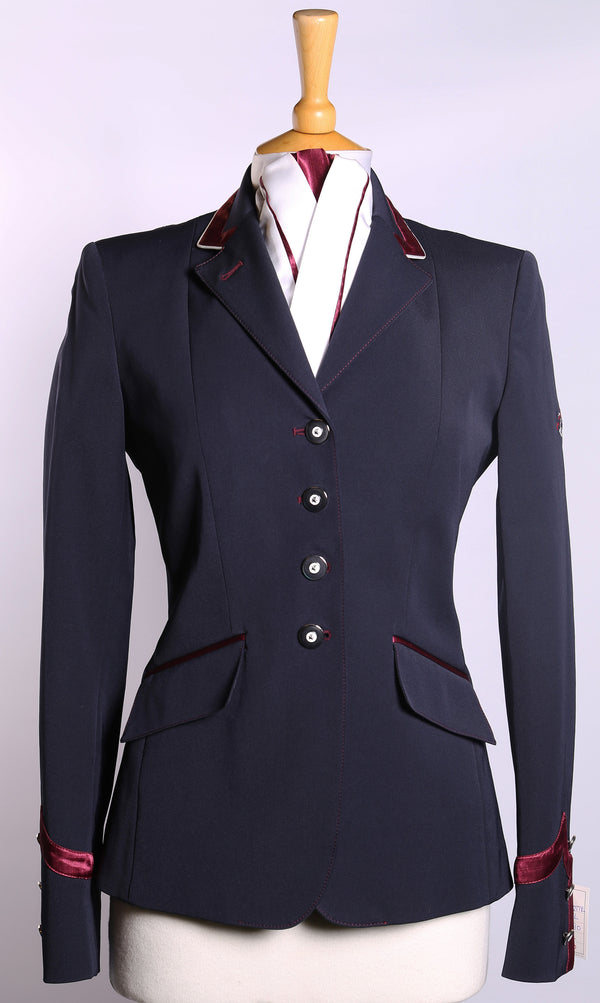 Flying Changes Ladies Charlotte Short Jacket, Navy, Burgundy