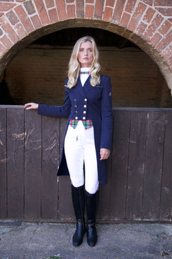 Flying Changes Ladies Isabell Dressage Tailcoat, Navy, Tartan