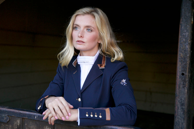 Charlotte (navy) short show Jacket/Copper Trim