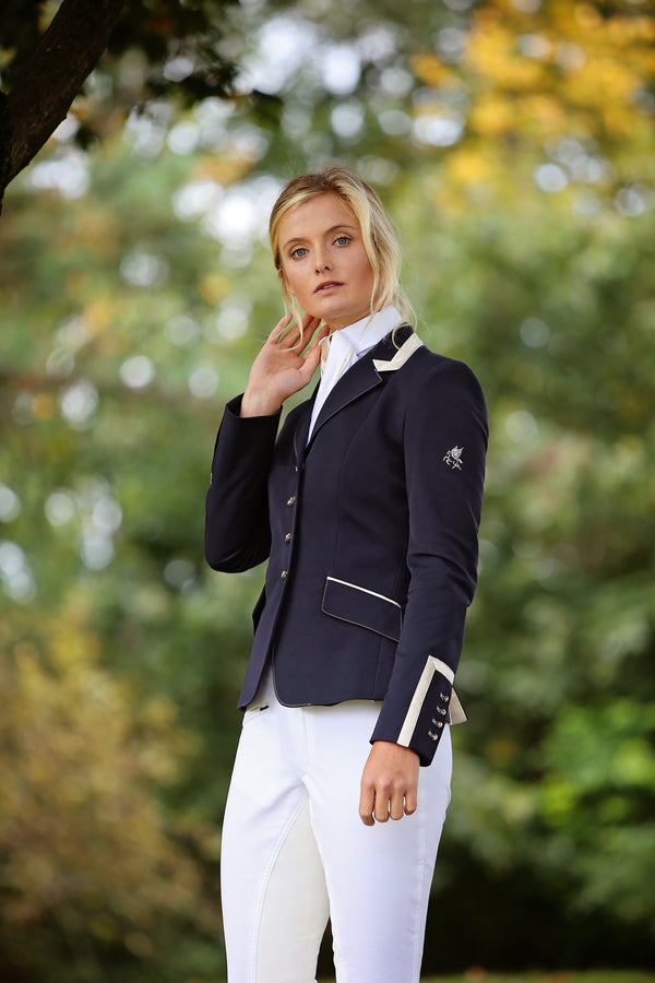 Flying Changes Ladies Charlotte Short Jacket, Navy, Champagne
