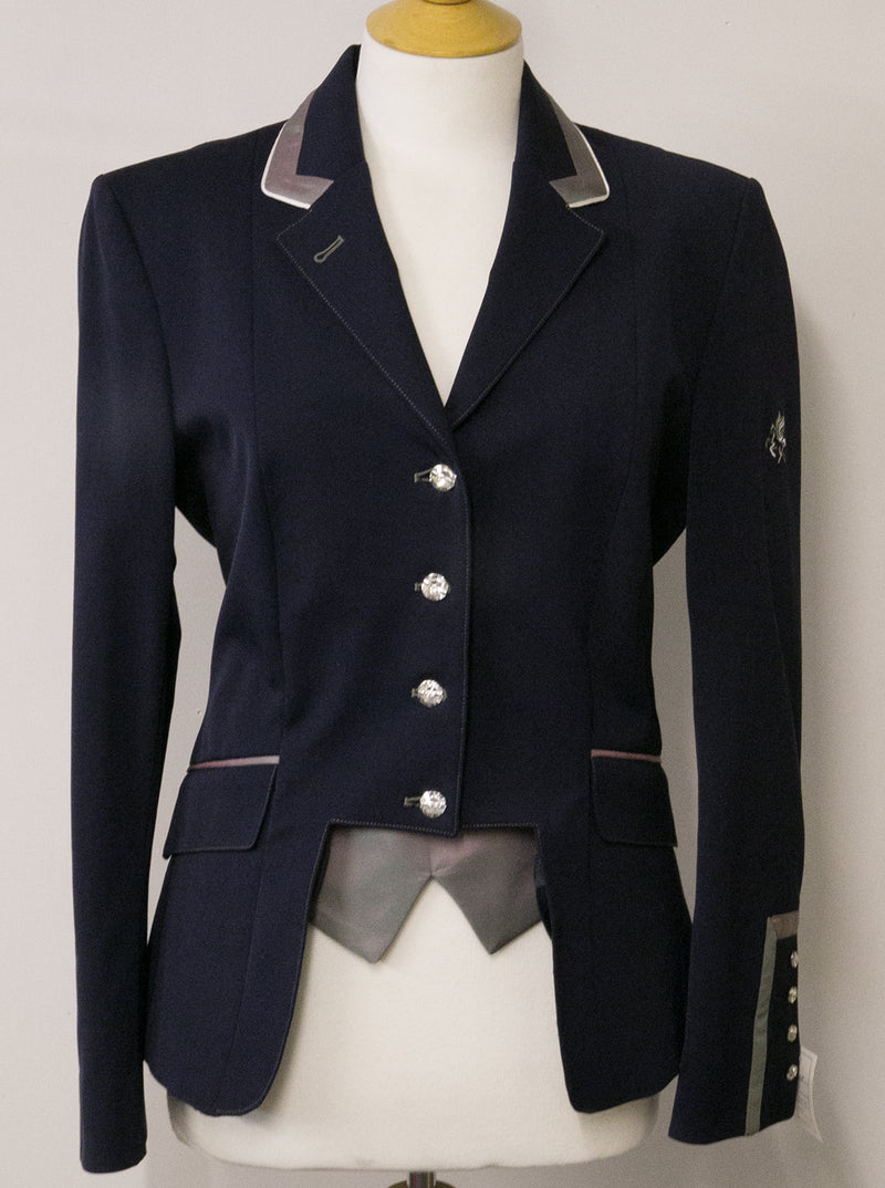 SALE - Flying Changes Ladies Short jacket, Gina, Navy, Purple/Green Schimmer, UK Size 14