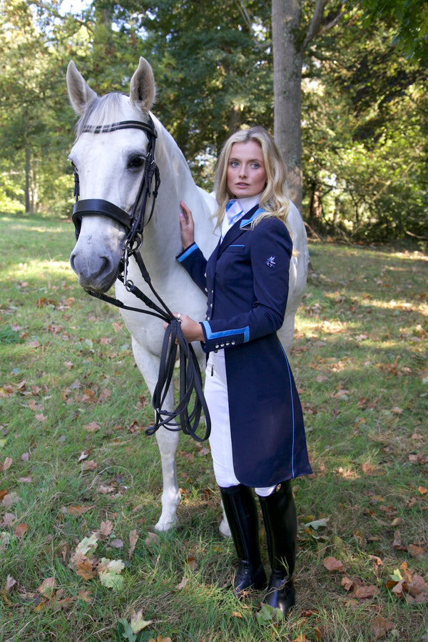 Flying Changes Ladies Isabell Dressage Tailcoat, Navy, Wedgewood