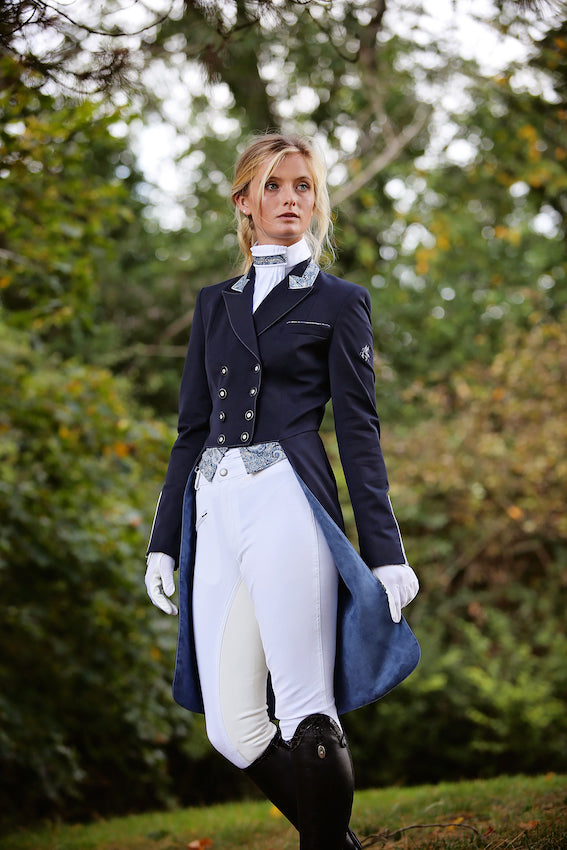 Flying Changes Ladies Isabell Dressage Tailcoat, Navy, Blue Liberty Print