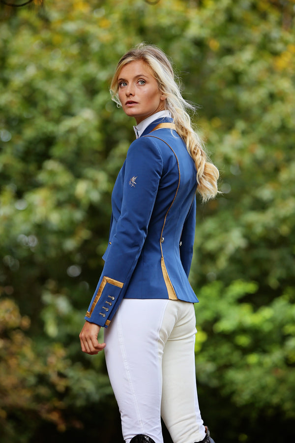 Flying Changes Ladies Charlotte Short Jacket, Royal Blue, New Gold
