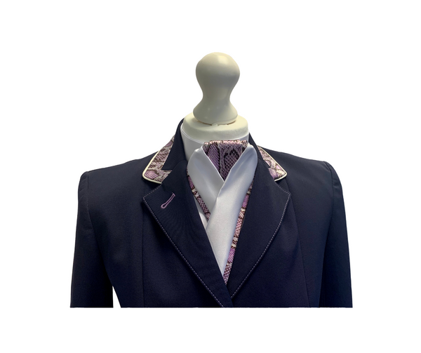 Flying Changes Ladies Charlotte Short Jacket, Navy, Lilac Faux Snake Skin