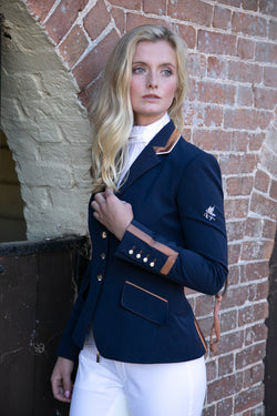 Flying Changes Ladies Charlotte Short Jacket, Navy, Copper