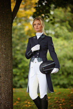 Flying Changes Ladies Isabell Dressage Tailcoat, Navy, Teal Paisley