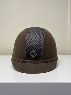 Ex Display Charles Owen Ayr8 , Brown Suede Riding Hat 55cm